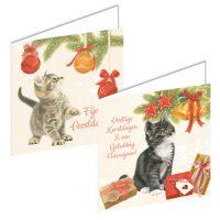 Franciens Cats Christmas Boxje KITTEN WITH CHRISTMAS BALLS CHRISTMAS CLOCK