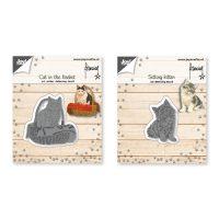 Franciens Katten Snij-embos-debosstencil – Kat in mand/ zittende kitten