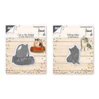 Snij-embos-debosstencil – Franciens kat in mand/ zittende kitten