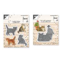 Snij-embos-debosstencil – Franciens twee kittens/ kat met geranium
