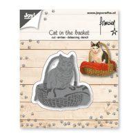 Franciens Katten Snij-embos-debosstencil – Kat in mand